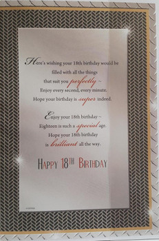 Open Male 18 Today! Medium Sized Style Birthday Card