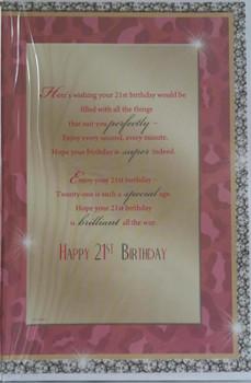 Open Female 21 Today! Nice Verse Happy Birthday 21st Senimental Greeting Card