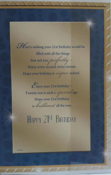 Open Male Age 21 Celebrate In Style! Nice Verse Birthday Card