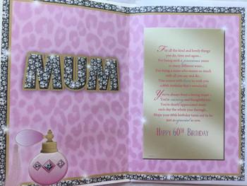 Age 60th Birthday Mum Fabulous At Sixty Sentiment 60 Birthday Greeting Card