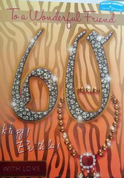 Female Friend 60 Happy Birthday! Necklace Design Birthday Card