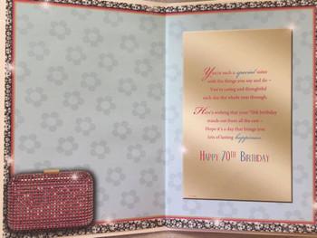 Sister 70 Celebrate Today! Beautiful Purse Design Birthday Card
