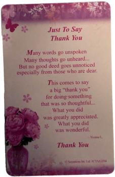 Sentimental Keepsake Wallet / Purse Card - Just to Say Thank You