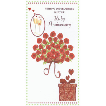 Wishing You Happiness On Your Ruby Anniversary Card