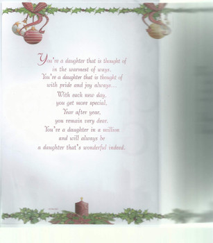 You're Such a Special Daughter Sentimental Verse Christmas Card