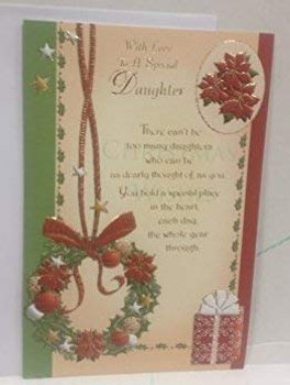 Daughter At Christmas Greeting Card With Sentimental Verse