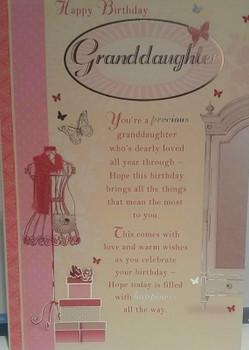 Granddaughter Soft Whispers Birthday Card