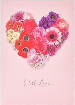 Flower Heart Design Pretty Birthday Card For Her