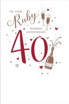 Ruby 40th Wedding Anniversary Card