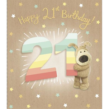 Striped Numbers Boofle 21st Birthday Card