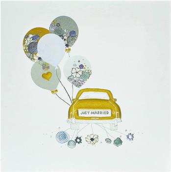 Just Married Car Design Wedding Congratulations Card