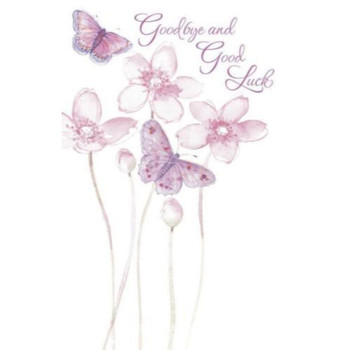 Goodbye and Good Luck Glitter Greeting Card