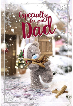 For Dad Tatty Teddy With Logs Design Christmas Card