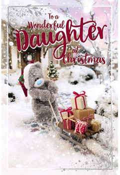 Wonderful Daughter Tatty Teddy Pullling Sledge Of Gifts Design Christmas Card