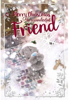 Wonderful Friend Tatty Teddy With Snowflake Design Christmas Card