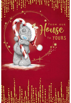 From Our House Bear With Candy Cane Design Christmas Card