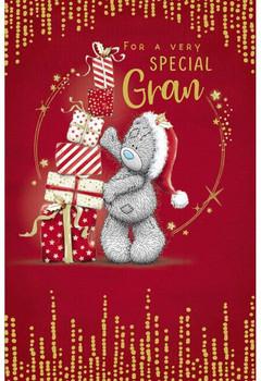 Special Gran Bear Stacking Presents Design Christmas Card