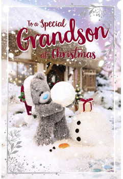 Special Grandson Tatty Teddy Making Snowman 3D Holographic Christmas Card