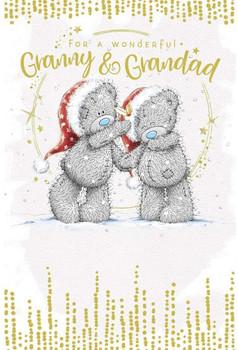 Wonderful Granny And Grandad Bear Holding Hands Design Christmas Card