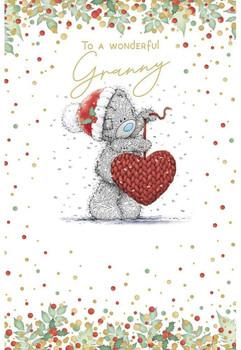 Wonderful Granny Bear Holding Knitted Heart Design Christmas Card