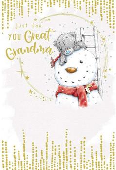 Great Grandma Bear Building Snowman Design Christmas Card