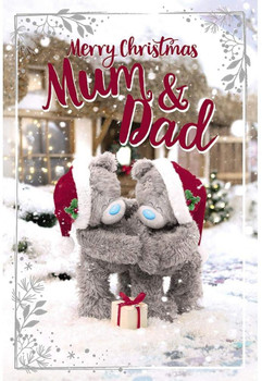 Mum And Dad Tatty Teddies With Gift Design 3D Holographic Christmas Card