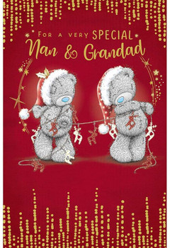 Special Nan And Grandad Bear With Bunting Design Christmas Card