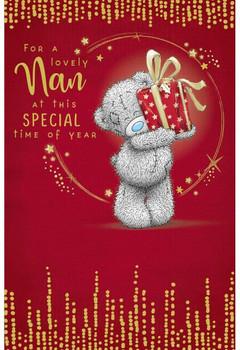 Lovely Nan Bear Holding Up Gift Design Christmas Card