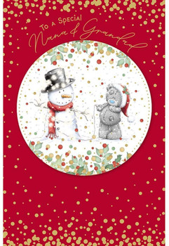 Special Nana And Grandad Tatty Teddy With Snowman Design Christmas Card