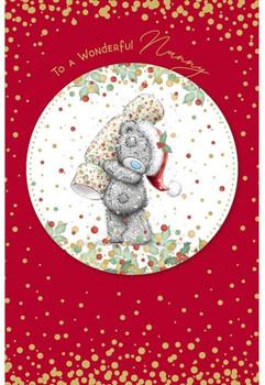 Wonderful Nanny Bear Holding Cracker Design Christmas Card