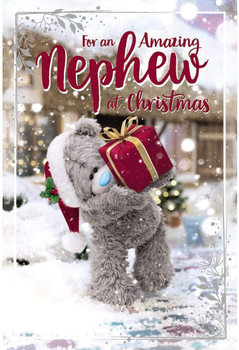 Amazing Nephew Tatty Teddy Holding Up Gift Design 3D Holographic Christmas Card
