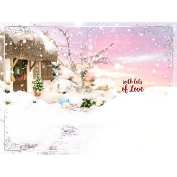 Wonderful Niece Tatty Teddy Building Snowman Design 3D Holographic Christmas Card