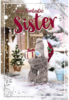 Fantastic Sister Tatty Teddy Holding Gift Design 3D Holographic Christmas Card