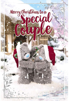 Special Couple Tatty Teddies With Mistletoe Design 3D Holographic Christmas Card