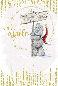 Fantastic Uncle Tatty Teddy With Sign Design Christmas Card