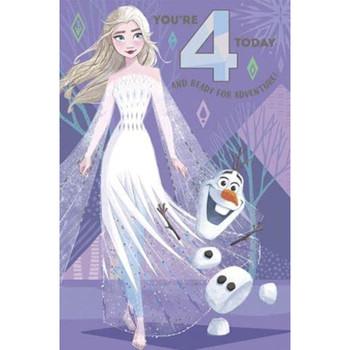 Disney Frozen Elsa and Olaf Foil Finish Design 4th Birthday Card
