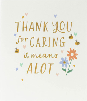 Thank You for Caring Support Card with Gold Detailing