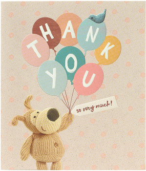 Boofle Holding Thank You Lettering Balloons Card