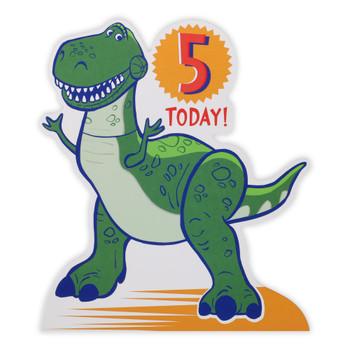 Rex Toy Story Die Cut 5 Today Birthday Card