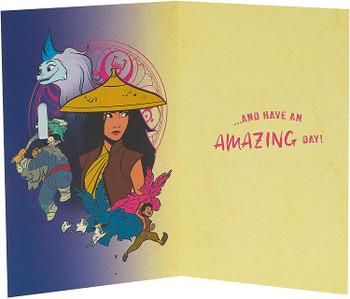 Disney Raya and Last Dragon Birthday Card with Badge