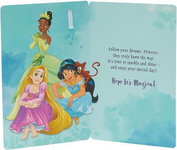 Time to Shine, Rapunzel, Tiana and Jasmine 5th Birthday Card with Badge