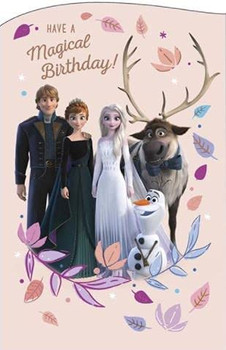 Anna, Elsa, Sven and Olaf Foil Finish Design Magical Birthday Card