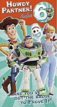 Disney Pixar Toy Story 6th Boy Birthday Card with Badge