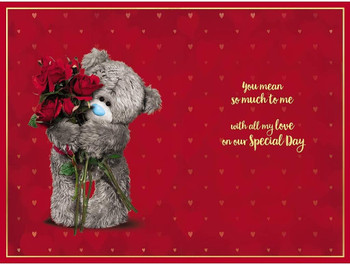For My Gorgeous Wife Bear And Roses 3D Holographic Anniversary Card