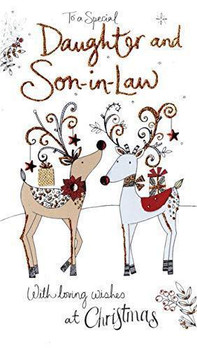 To A Special Daughter & Son in Law 2 Reindeer Design Christmas Card
