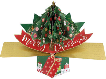 Pop Up Christmas Card with a Christmas Tree and Merry Christmas Lettering