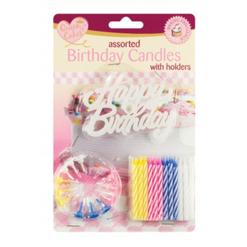 Pack of 24 Birthday Candles with Holders and Birthday Sign