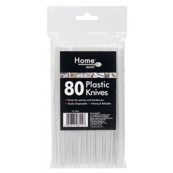 80 White Plastic Knives-Ideal for Parties & Picnics