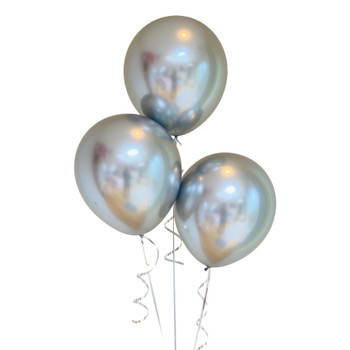 """Bag of 50 Metallic Silver Colour 12"""" Latex Balloons"""
