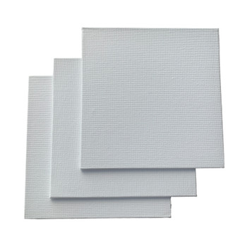 Pack of 10 15x15cm Blank White Flat Stretched Board Art Canvases By Janrax